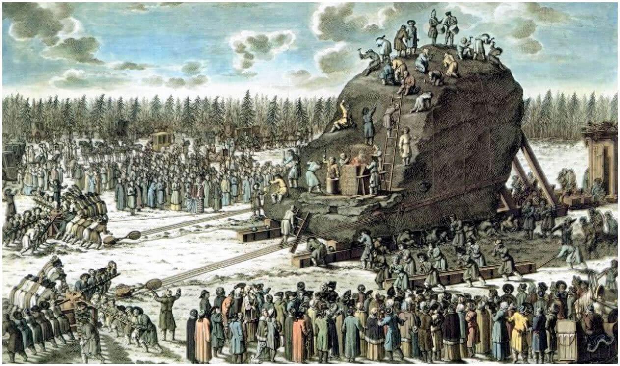 «Движение камня к заливу в присутствии императрицы». Гравюра Якоба Шлея по рисунку Юрия Фельтена.