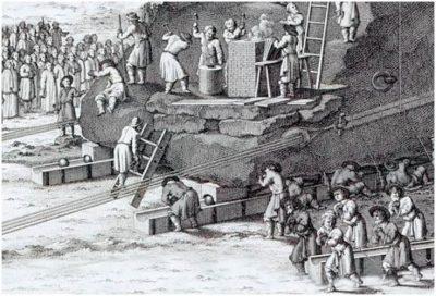 Фрагмент гравюры Якоба Шлея. Можно рассмотреть принцип работы «шаровой машины»: два верхних бревна, на которые опирается камень, скользят с помощью медных шаров по нижним брёвнам.