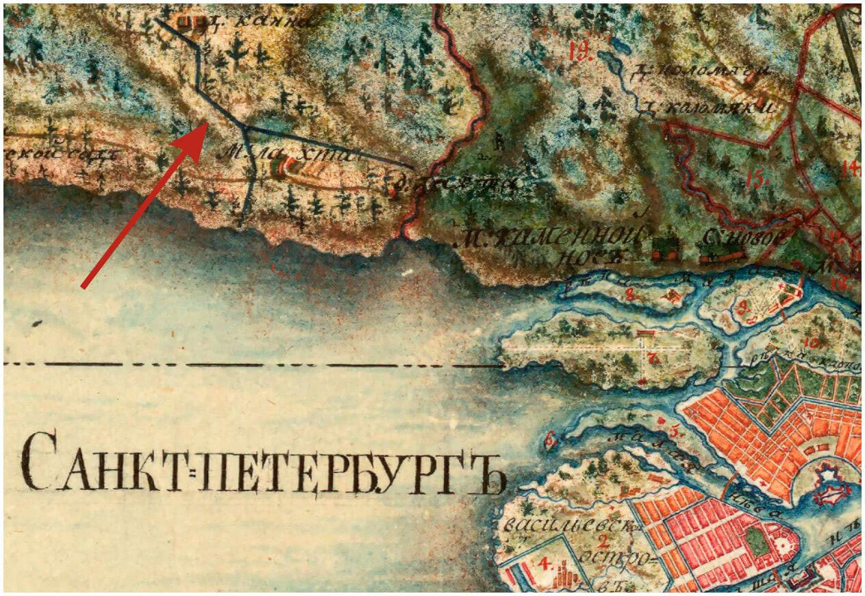 Здесь на «Карте Санкт-Петербургской губернии» 1792 года отмечена дорога, по которой перемещали Гром-камень к Финскому заливу.